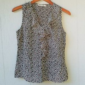 Halogen Ruffle Front Polka Dot Sleeveless Blouse S